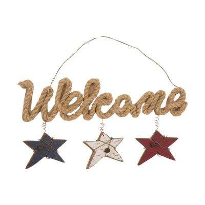 8.66 in. H Wooden/Jute Wall Sign