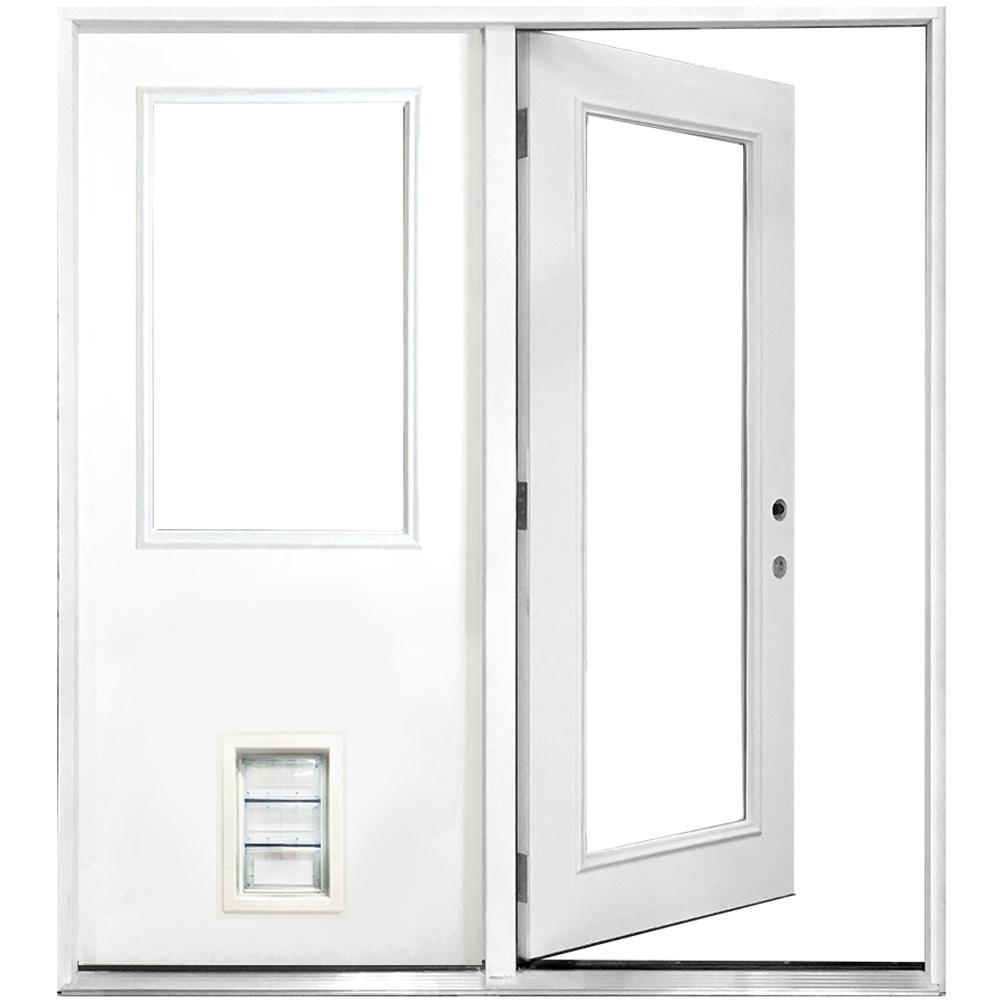 Steves & Sons 72 in. x 80 in. Clear Lite Primed White Fiberglass Prehung Left-Hand Inswing Center Hinge Patio Door with Med Pet Door