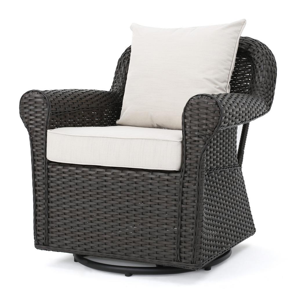 Amaya Dark Brown Swivel Wicker Outdoor Lounge Chair with Beige Cushions