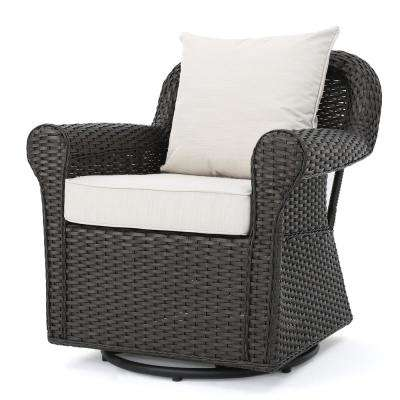 Amaya Dark Brown Wicker Outdoor Rocking Chair with Beige Cushions