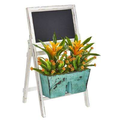 26 in. Indoor Bromeliad and Succulent Artificial Plant in Farmhouse Stand with Chalkboard