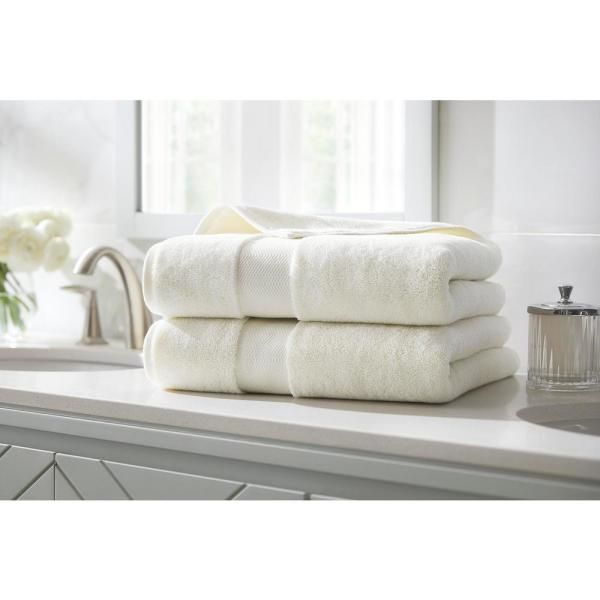 Home Decorators Collection Plush Soft Cotton Bath Towel in Ivory (Set