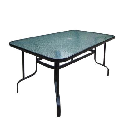 60 in. Black Rectangular Outdoor Patio Tempered Glass Dining Table
