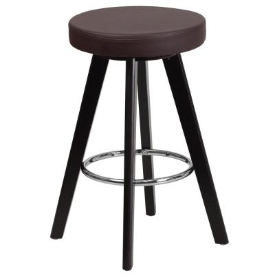 Contemporary 24 in. High Cappuccino Wood Counter Height Stool with Brown Vinyl Seat