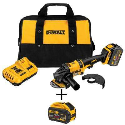 FLEXVOLT 60-Volt MAX Lithium-Ion Cordless Brushless 4-1/2 in. Angle Grinder with Battery, Charger, Bag and Bonus Battery