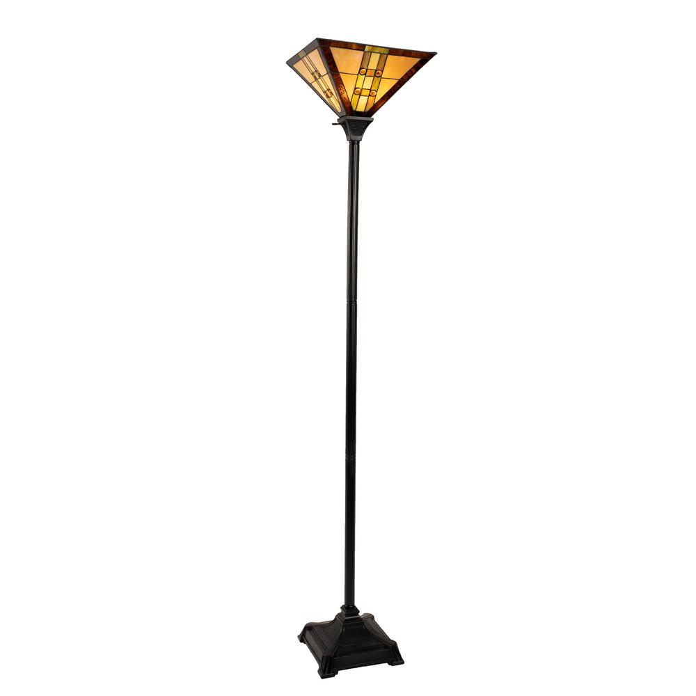 Lavish Home 71 in. Multi-Colored Tiffany Style LED Torchiere Floor Lamp