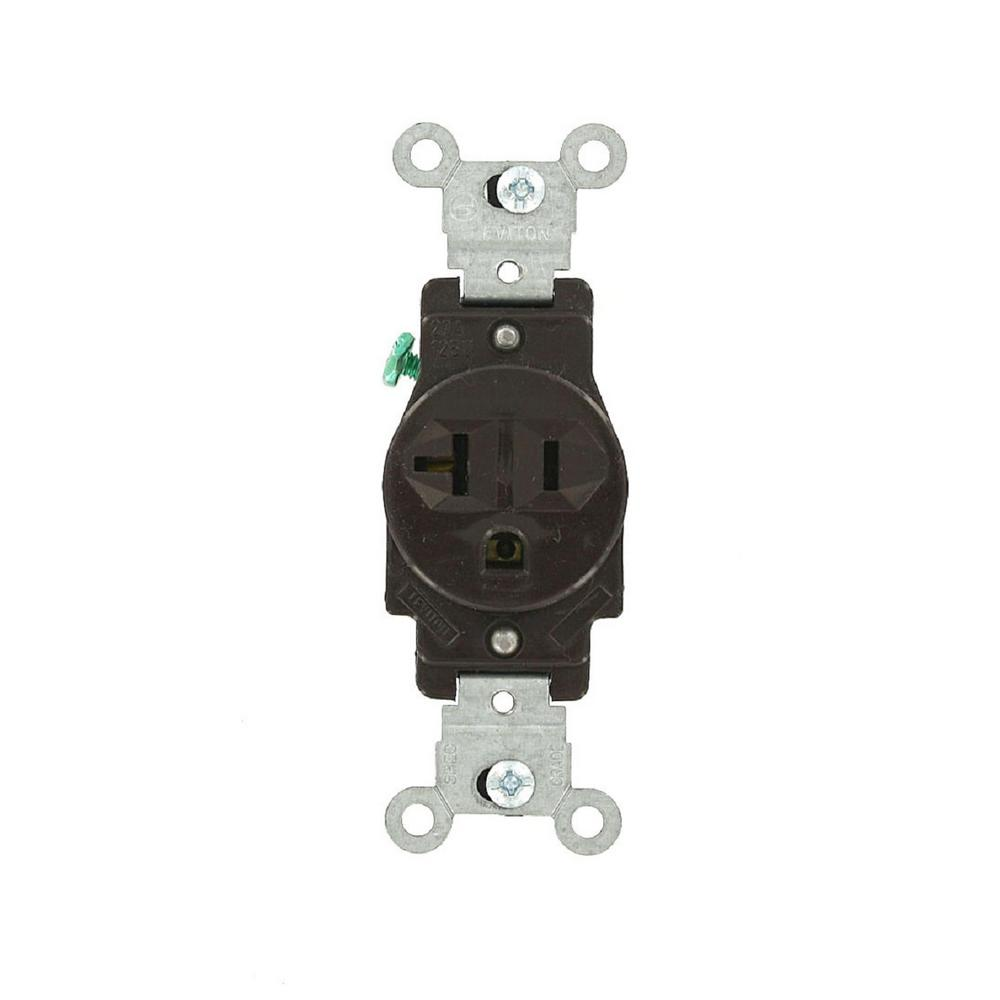 Leviton 20 Amp Commercial Grade Grounding Single Outlet