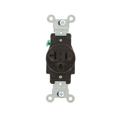 20 Amp Commercial Grade Grounding Single Outlet, Brown