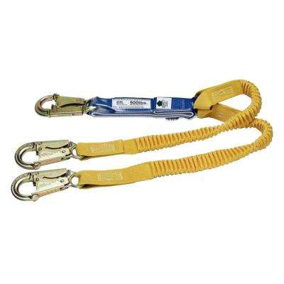 Upgear 6 ft. DeCoil Stretch Twin Leg Lanyard (DCELL Shock Pack, Elastic Web, Snap Hook)