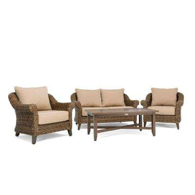 Bahamas Wicker 4-Piece Outdoor Loveseat Seating Set with Sunbrella Canvas Heather Beige Cushion