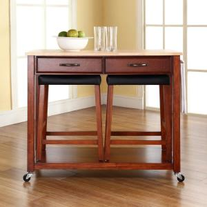 Crosley Cherry Kitchen Cart With Natural Wood TopKFCH The - Crosley kitchen island cart natural wood top