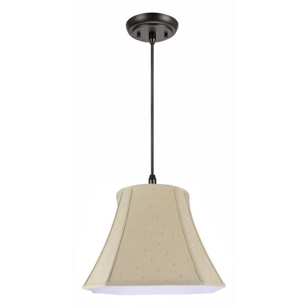 2-Light Oil Rubbed Bronze Pendant with Butter Creme Bell Curve Corner Fabric Shade