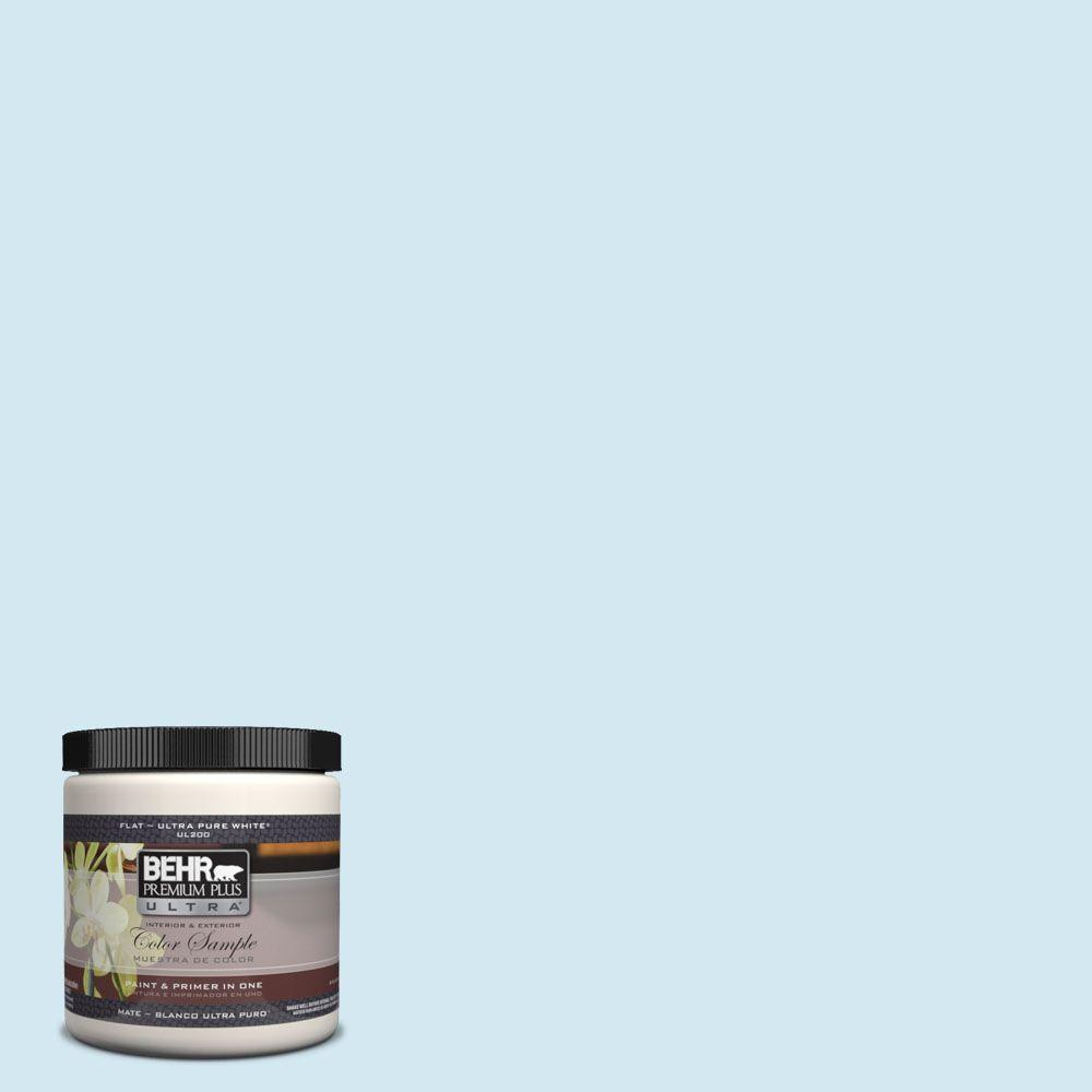 BEHR Premium Plus Ultra 8 oz. #530A-1 Snowdrop Matte Interior/Exterior Paint and Primer in One Sample