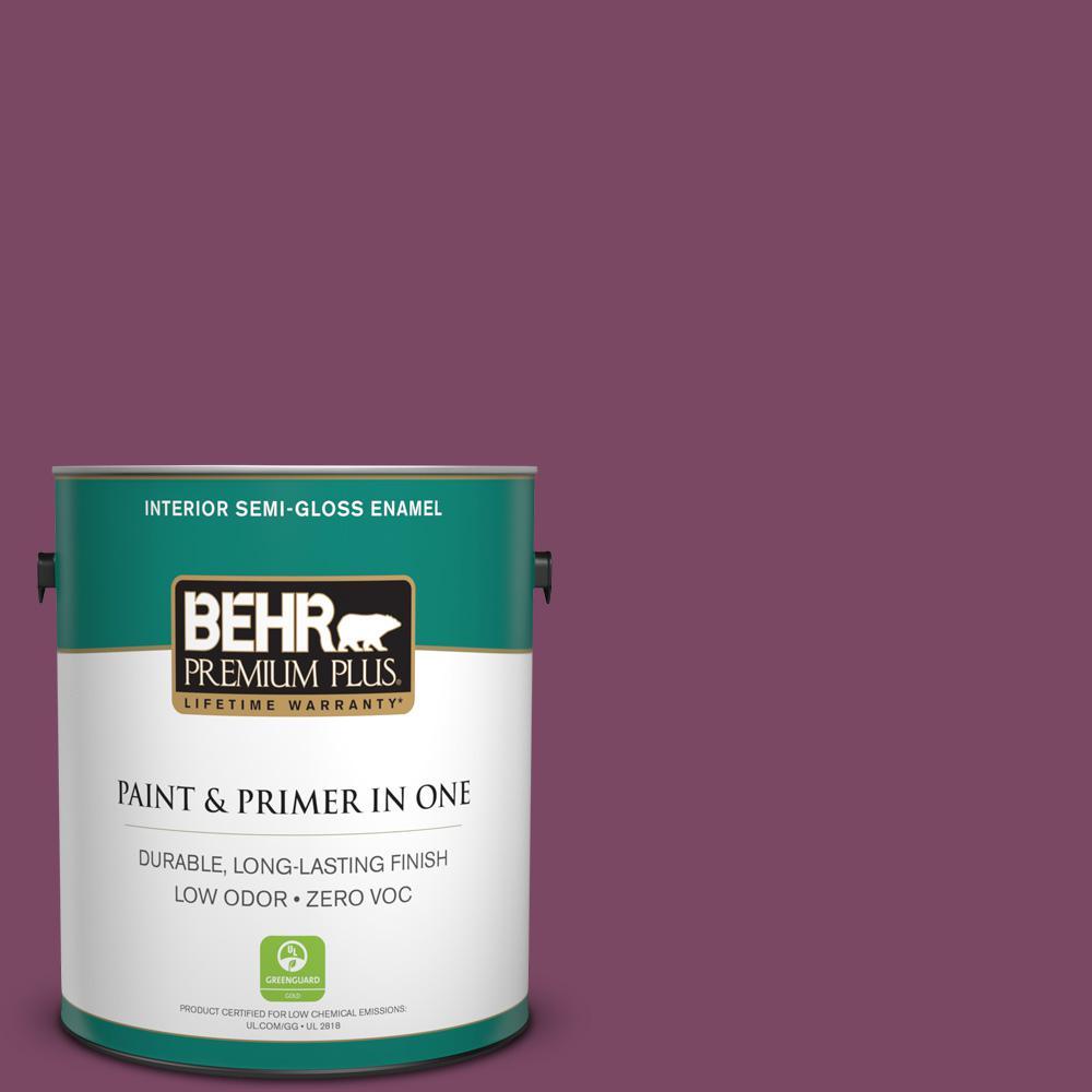 1 gal. #PPU1-19 Classic Berry Zero VOC Semi-Gloss Enamel Interior Paint