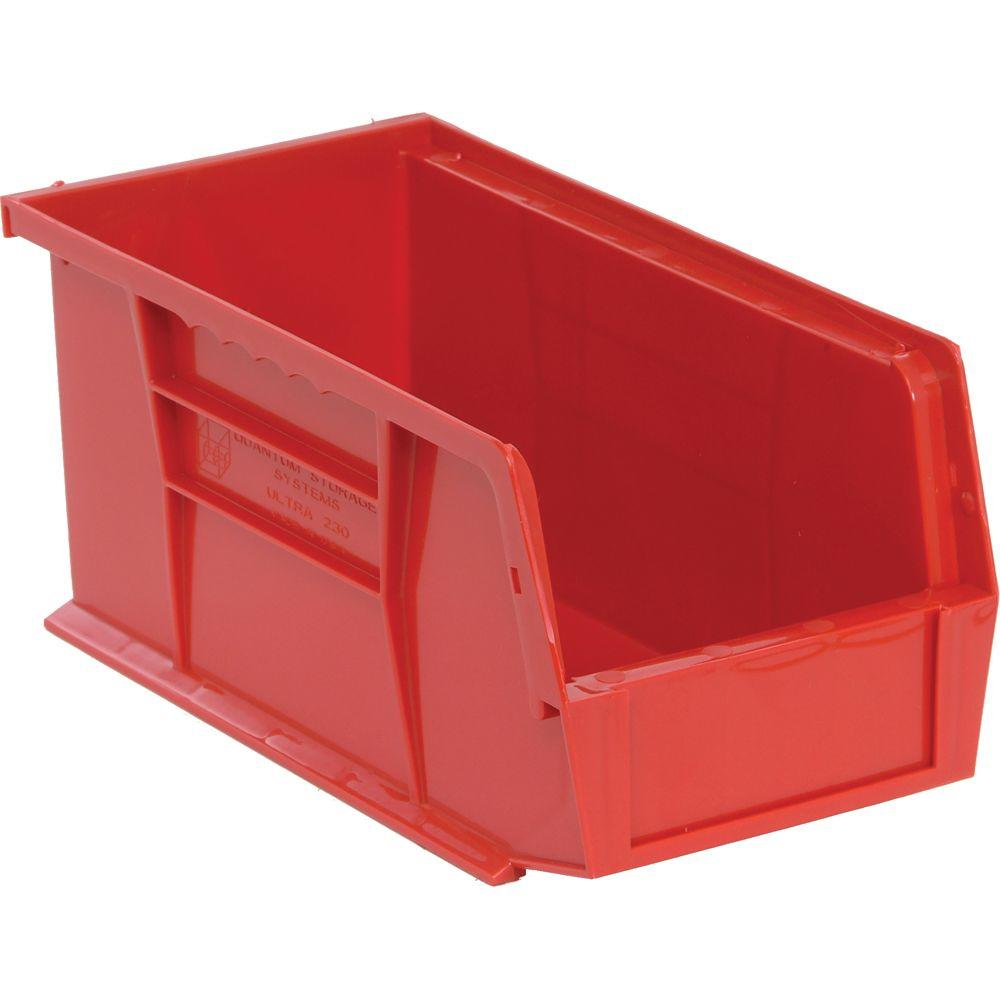 Stackable Plastic Storage Bin in Red (12-Pack)  sc 1 st  The Home Depot & Edsal 1.3 Gal. Stackable Plastic Storage Bin in Red (12-Pack ...