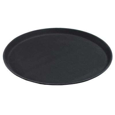 11 in. Diameter Polypropylene Round Tray with Rubber Liner in Black (Case of 12)