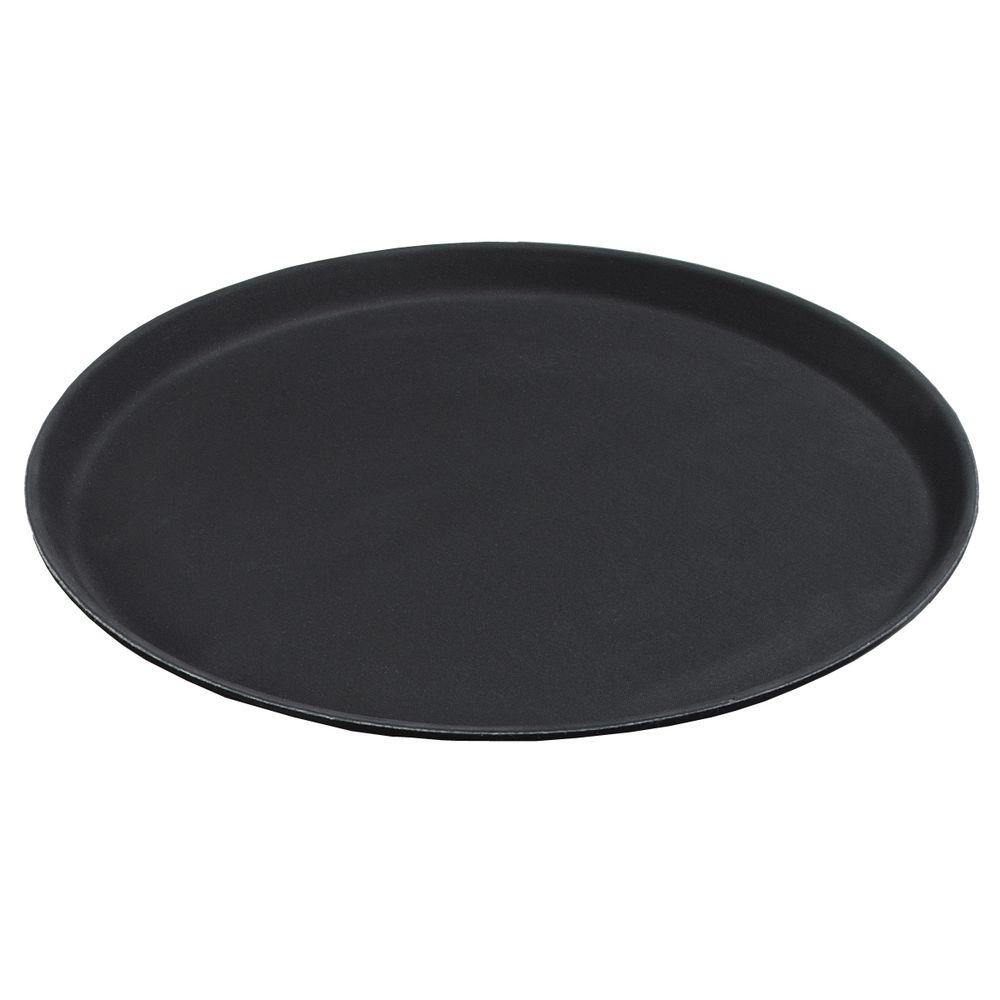 Carlisle 11 in. Diameter Polypropylene Round Tray with Rubber Liner in Black (Case of 12)