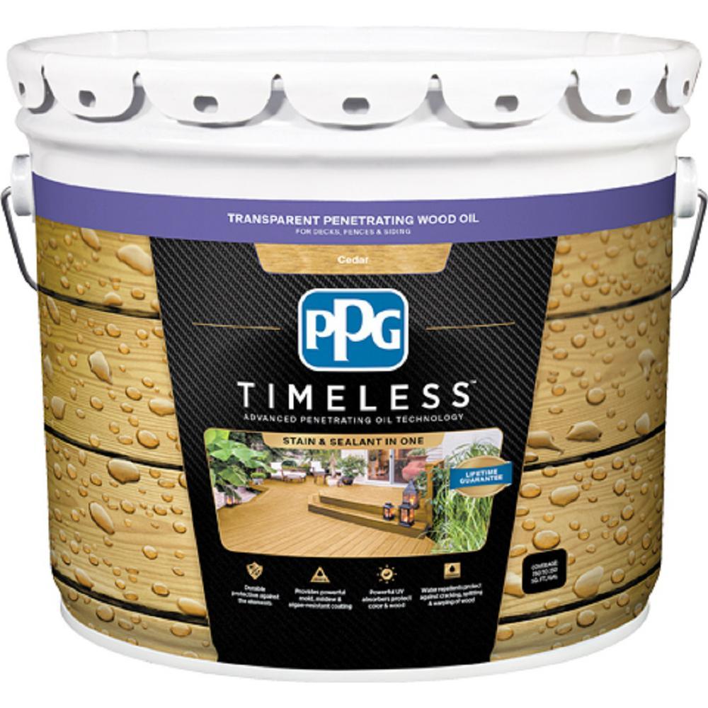 PPG TIMELESS 3 gal. TPO-2 Cedar Transparent Penetrating Wood Oil Exterior Stain Low VOC