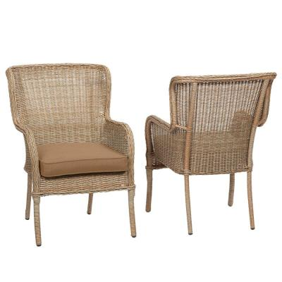 Lemon Grove Wicker Outdoor Patio Dining Chair with Standard Toffee Solid Cushions (2-Pack)