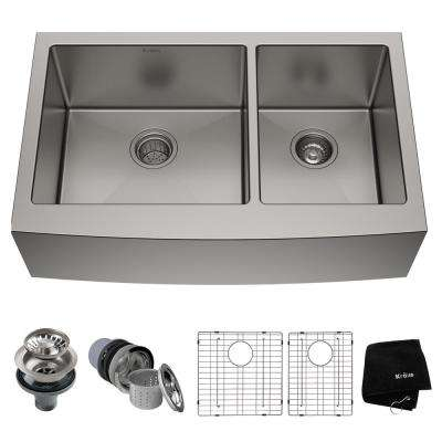 Standart PRO Farmhouse Apron-Front Stainless Steel 36 in. Double Bowl Kitchen Sink