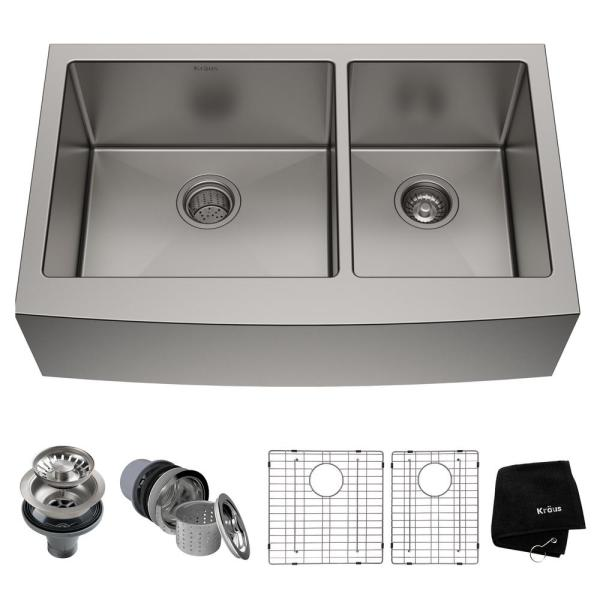 Kraus Standard Pro 16 Gauge Stainless Steel 36 In Double Bowl Farmhouse Apron Kitchen Sink Khf203 36 The Home Depot