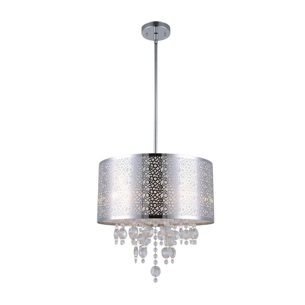 CANARM PIERA 4-Light Chrome Chandelier With Crystal Drops