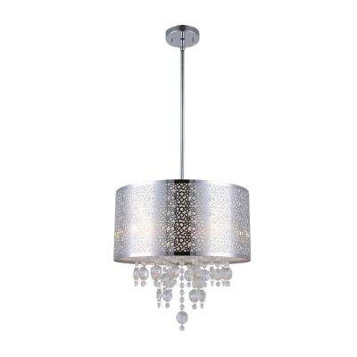 PIERA 4-Light Chrome Chandelier with Crystal Drops