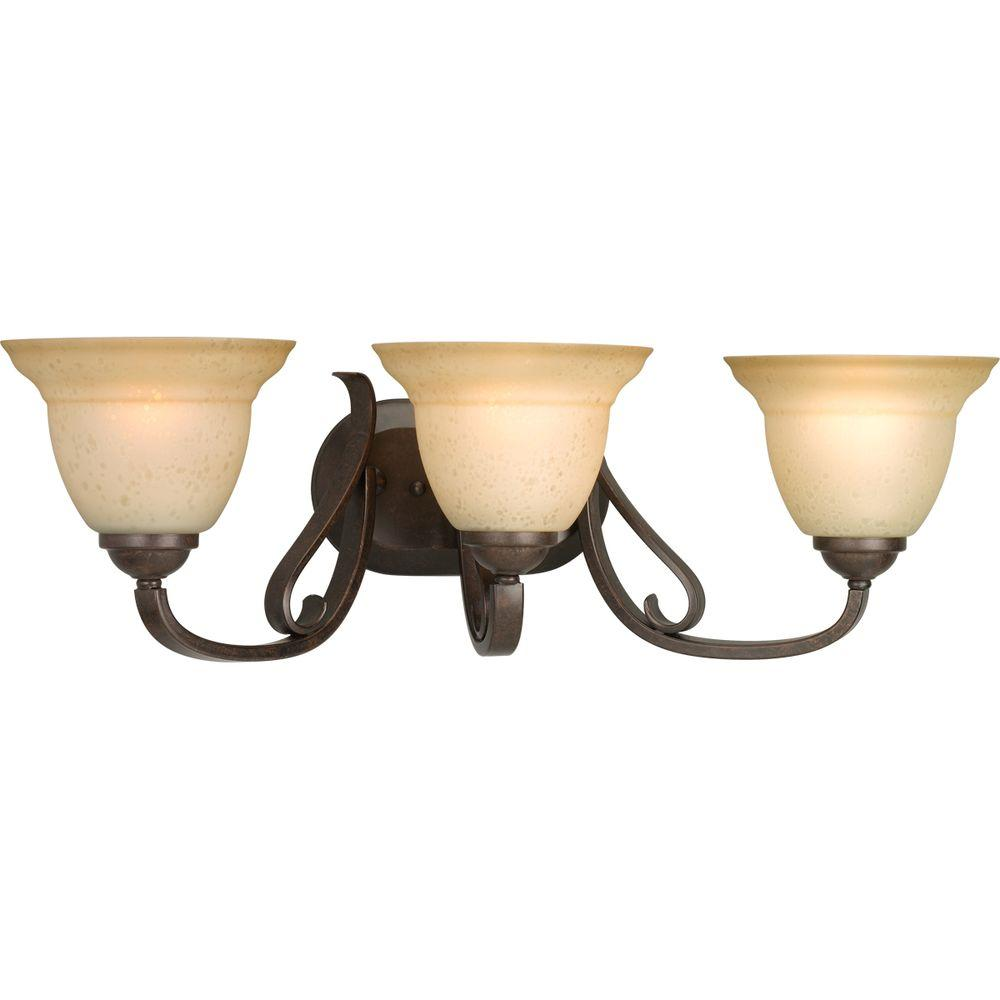 Progress Lighting Torino Collection 3-Light Forged Bronze Bath Light