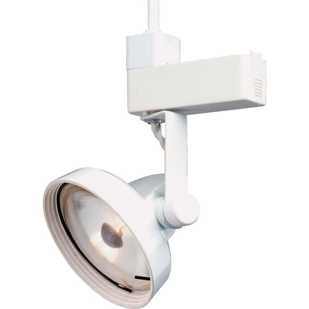 1-Light PAR36 White Gimbal Ring Track Lighting Head