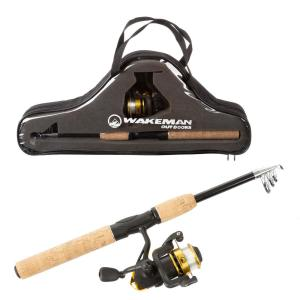 Wakeman Outdoors 65 In Telescopic Carbon Fiber Fishing Rod And Reel Combo Hw5000030 The Home Depot