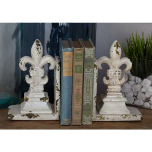11 inch x 9 inch Rustic Polystone Fleur-De-Lis Bookends by