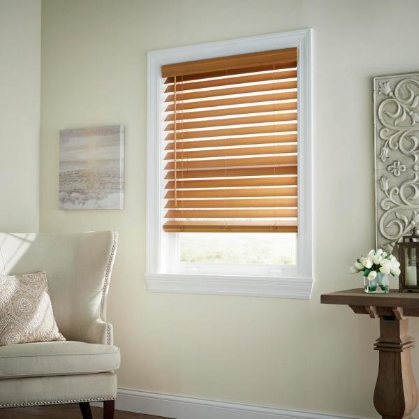 Chestnut Cordless 2-1/2 in. Premium Faux Wood Blind - 47 in. W x 48 in. L (Actual Size 46.5 in. W x 48 in. L)