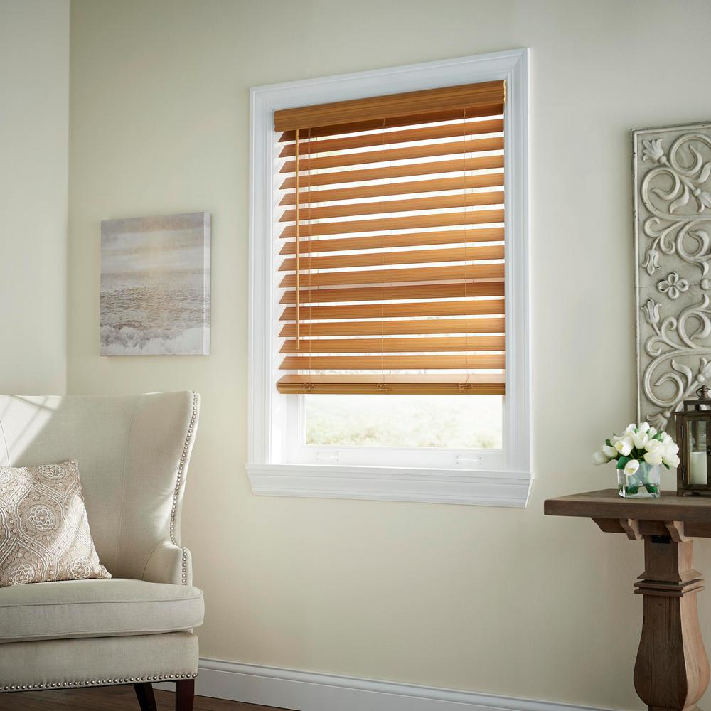 Home Decorators Collection Chestnut 2 1 2 In Cordless Premium Faux Wood Blind 35 In W X 64 In L Actual Size 34 5 In W X 64 In L 10793478395354 The Home Depot