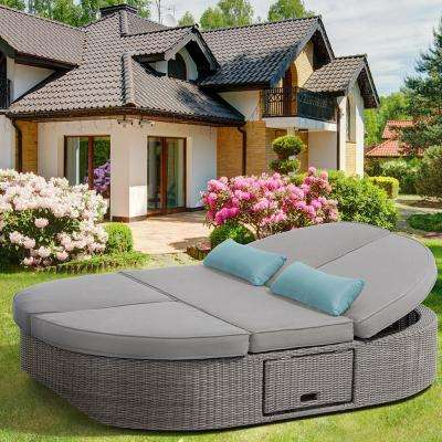 Sandra 1-Piece Aluminum Outdoor Day Bed with Gray Cushions