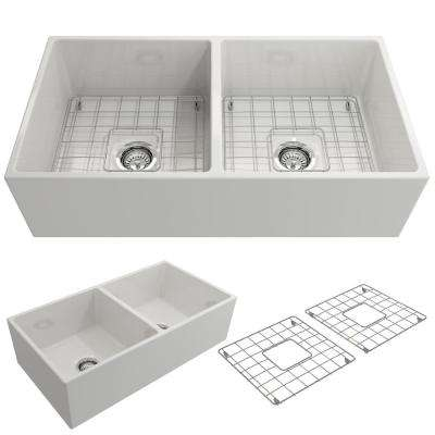 Contempo Farmhouse Apron Front Fireclay 36 in. Double Bowl Kitchen Sink with Bottom Grid and Strainer in White