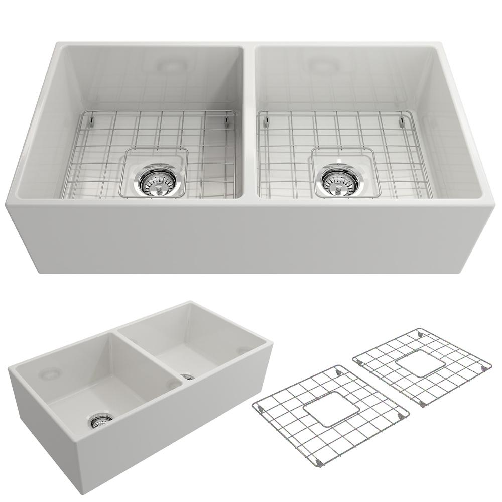 BOCCHI Contempo Farmhouse Apron Front Fireclay 36 in. Double Bowl Kitchen  Sink with Bottom Grid and Strainer in White