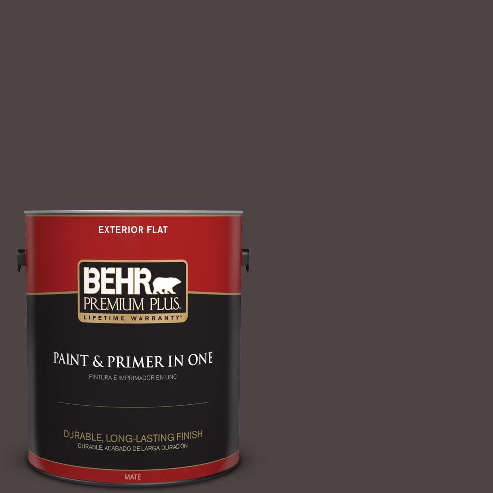 BEHR Premium Plus 1-gal. #N110-7 Black Garnet Flat Exterior Paint