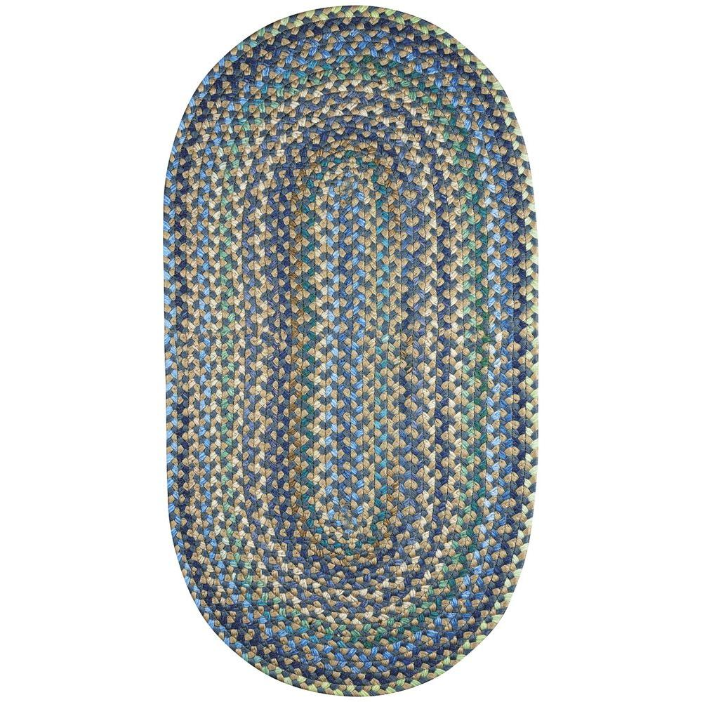 Capel jamerson blue 2 ft x 3 ft braided oval accent rug for Accent rug vs area rug