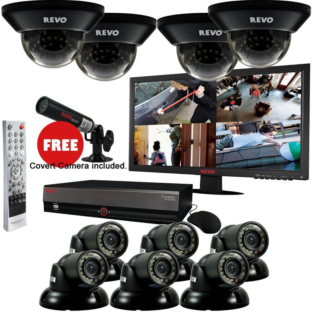 Revo 16 CH 4TB DVR Surveillance System with 10 700TVL 100 ft. Night Vision Cameras 23 in. Monitor & Free Bonus Covert Camera