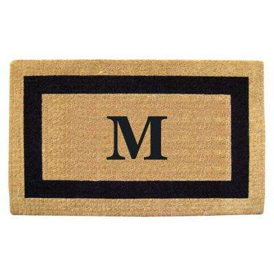 Single Picture Frame Black 22 in. x 36 in. HeavyDuty Coir Monogrammed M Door Mat