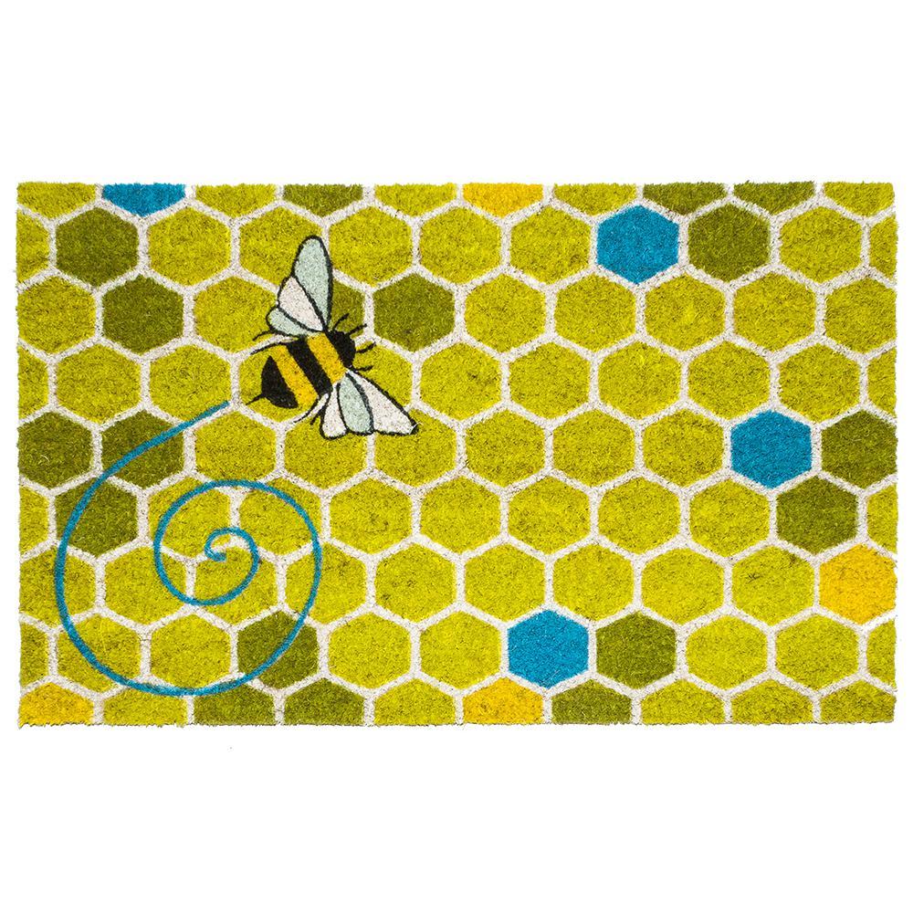 Honeycomb 17 in. x 28 in. Non-Slip Coir Door Mat