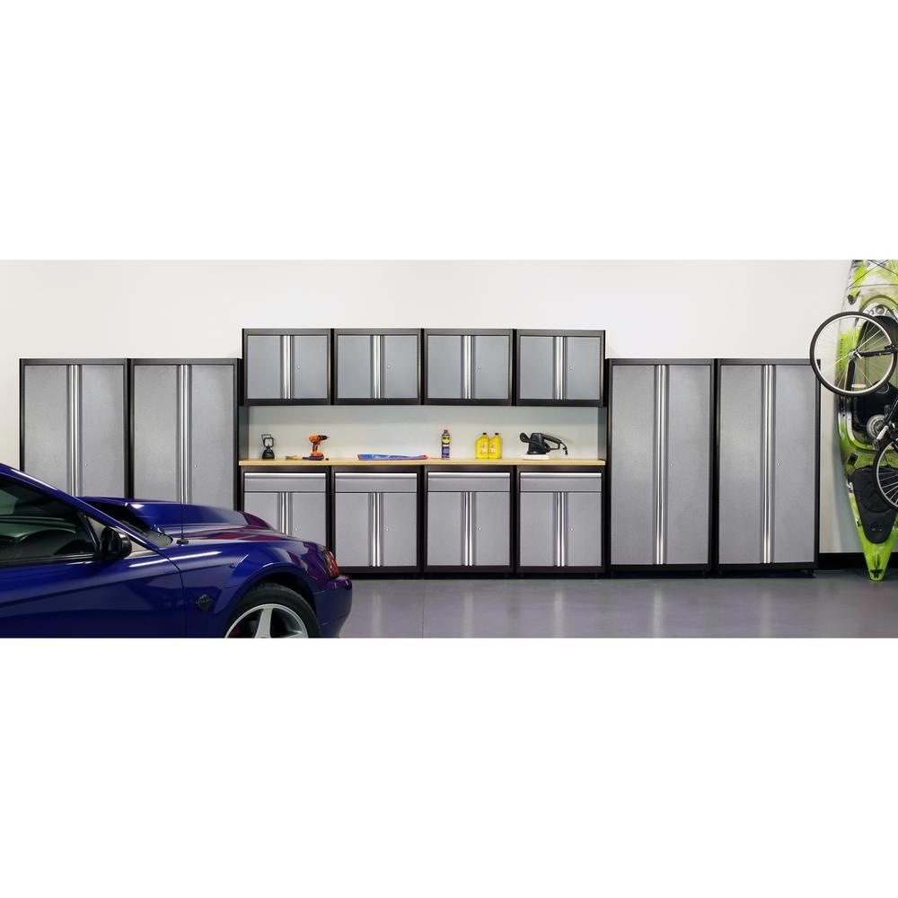 75 in. H x 264 in. W x 18 in. D Welded Steel Garage Cabinet Set in Black/Multi-Granite (14-Piece)