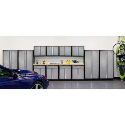 75 in. H x 264 in. W x 18 in. D Welded Steel Garage Cabinet Set in Black/Multi-Granite (14-Piece)