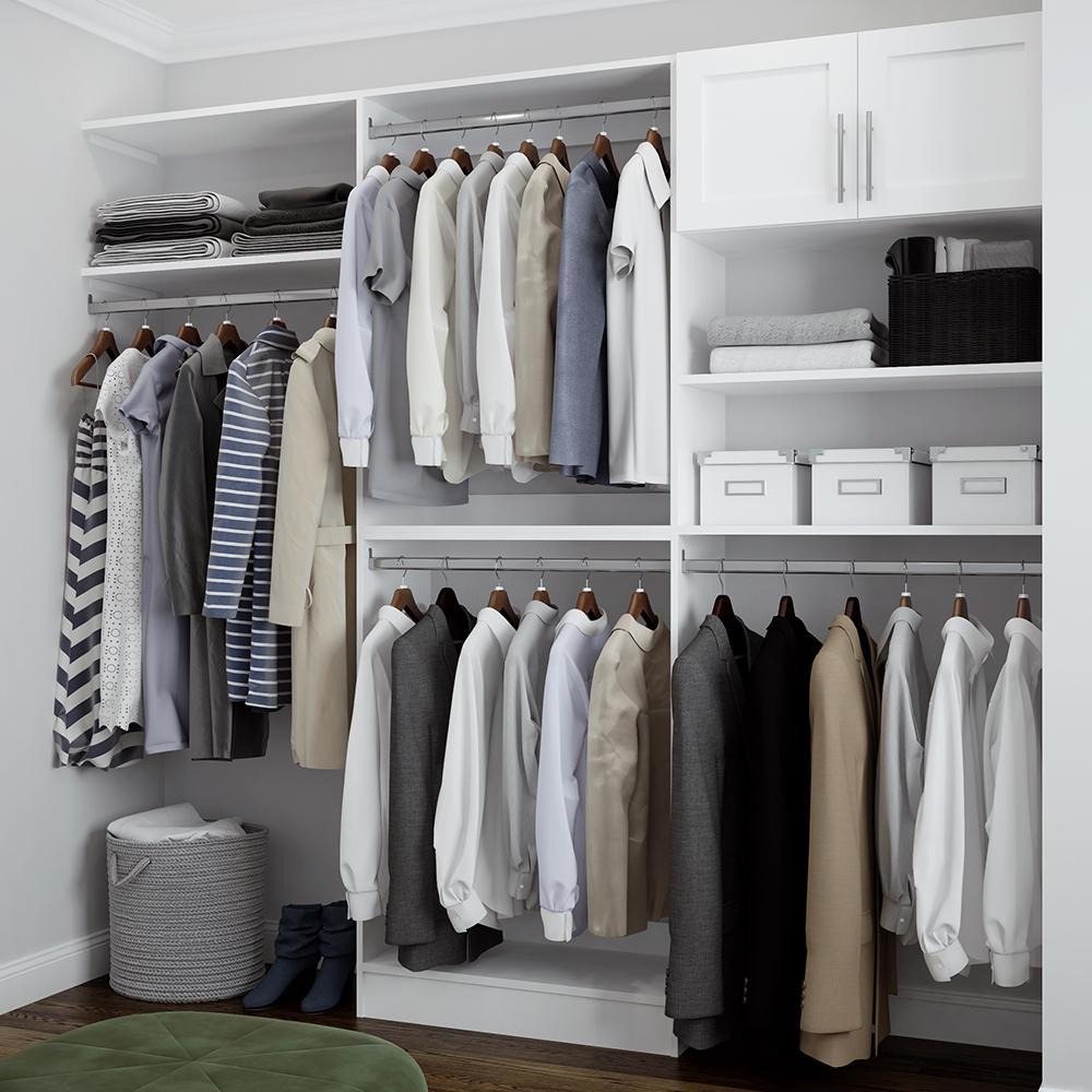 Madison 15 in. D x 105 in. W x 84 in. H Melamine Reach-In Closet System Kit in White