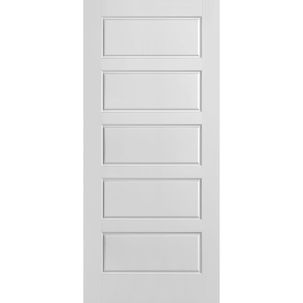 Masonite 36 in. x 80 in. Riverside Smooth 5-Panel Equal Hollow Core Primed Composite Interior Door Slab