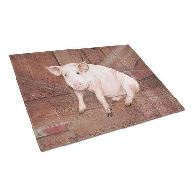 Pig at the barn door Tempered Glass Large Cutting Board