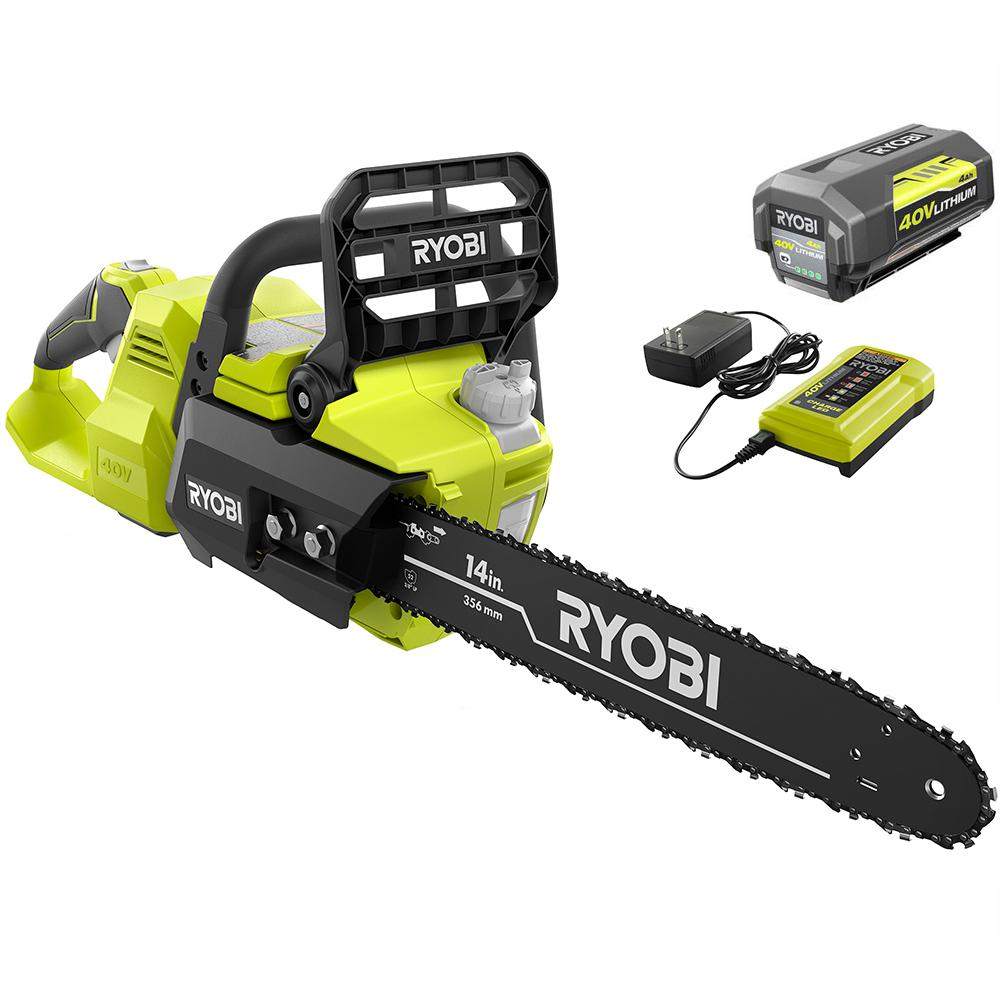 RYOBI RYOBI 14 in. 40-Volt Brushless Lithium-Ion Cordless Chainsaw, 4 Ah Battery and Charger Included