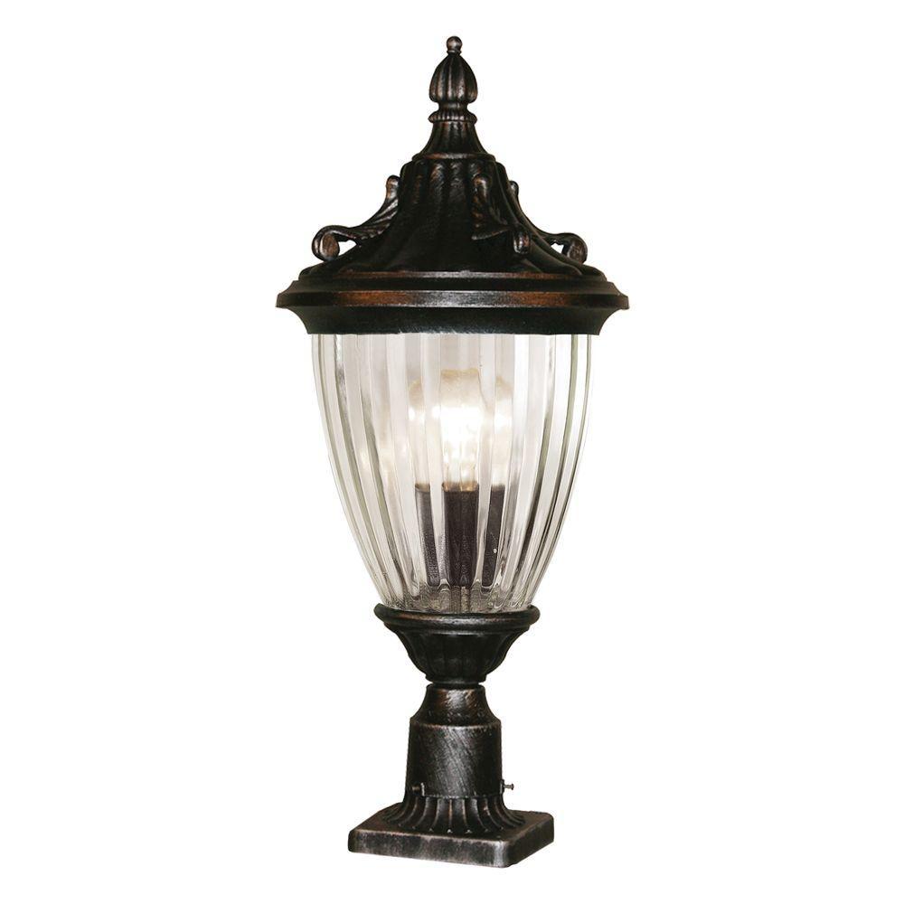Tulen Lawrence 1-Light Outdoor Black Silver Incandescent Post Light