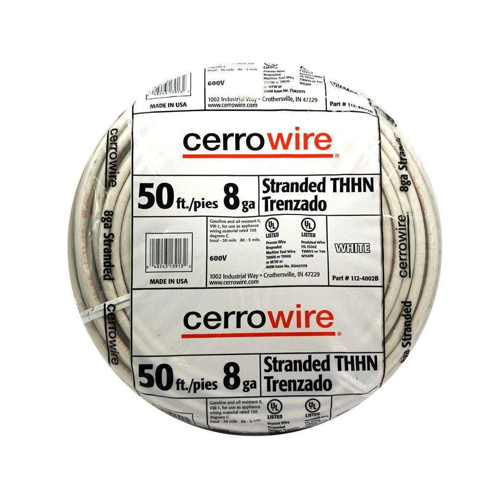 Cerrowire 50 ft 8 gauge white stranded thhn wire 112 4002br the cerrowire 50 ft 8 gauge white stranded thhn wire 112 4002br the home depot greentooth Images
