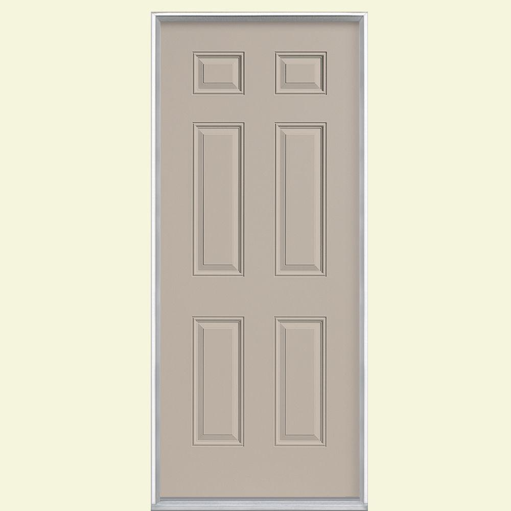 Masonite 30 In X 80 In 6 Panel Right Hand Inswing Painted Steel Prehung Front Door No